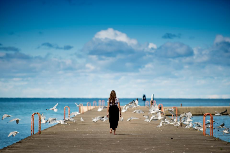 people, girl, walking, alone, sad, bridge, birds, flying, pathway, steel, ocean, sea, water, nature, sky, blue, clouds