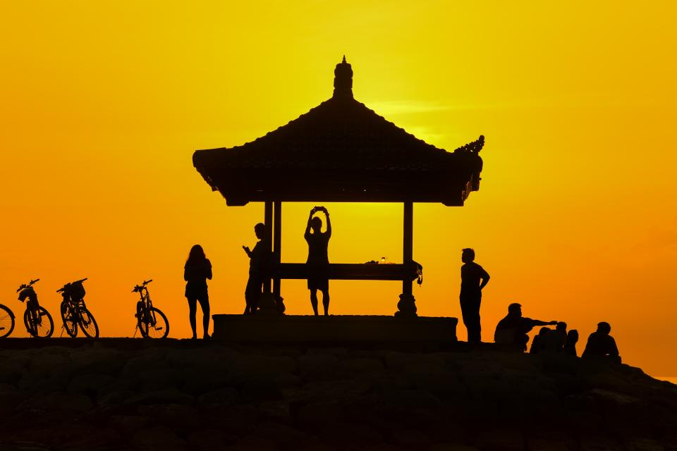 men, women, people, group, friends, silhouette, shadow, yellow, gradient, bicycles, gazebo, sunset, dusk