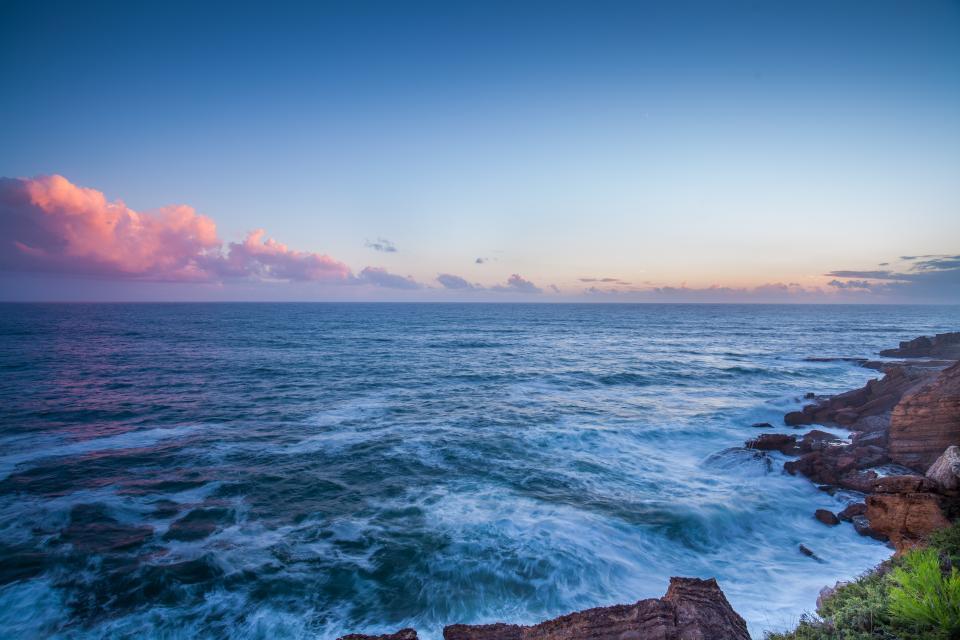 ocean, sea, waves, horizon, landscape, sky, clouds, sunset, shore, coast