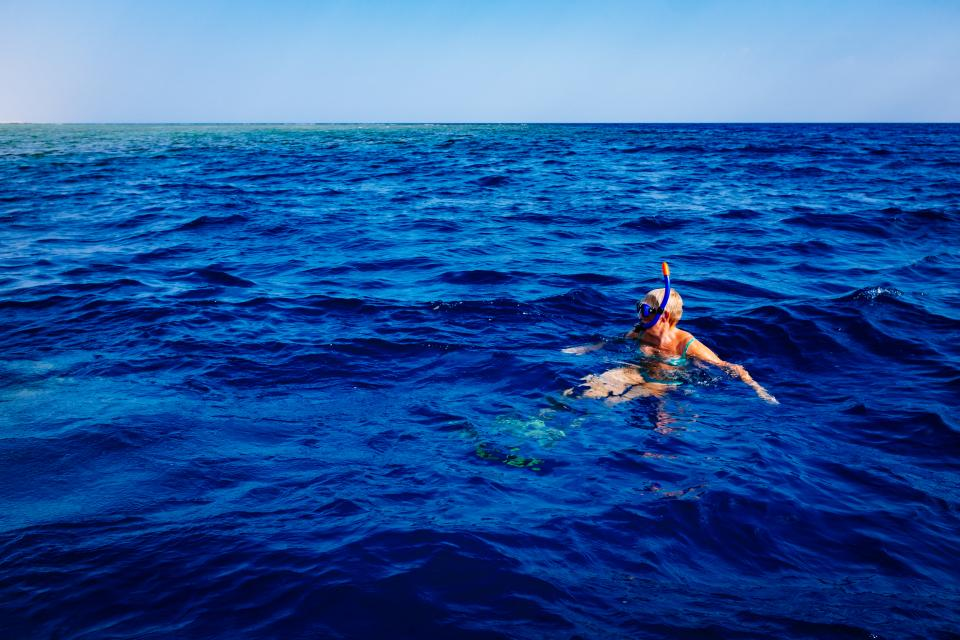 ocean, sea, water, horizon, sunshine, summer, vacation, snorkeling, diving, travel, tropical, snorkel, girl, people, blue