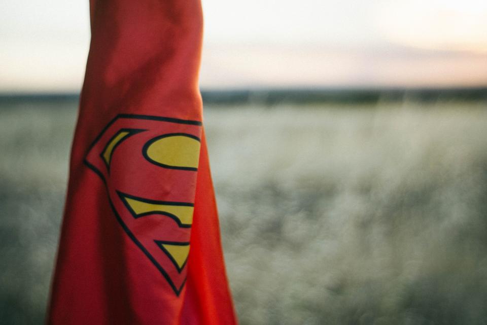 red, superman, cape