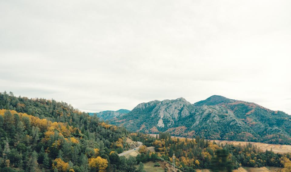 mountains, hills, forest, woods, nature, trees, road, autumn, country, sky, clouds