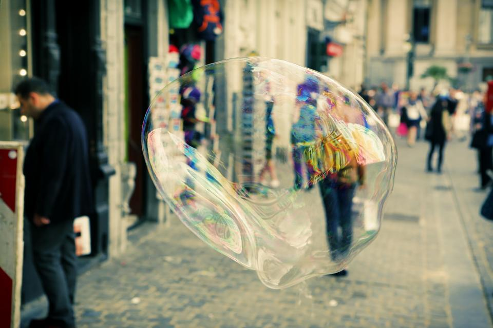 bubble, soap, street, sidewalk, cobblestone, people, pedestrians, crowd, stores, shops