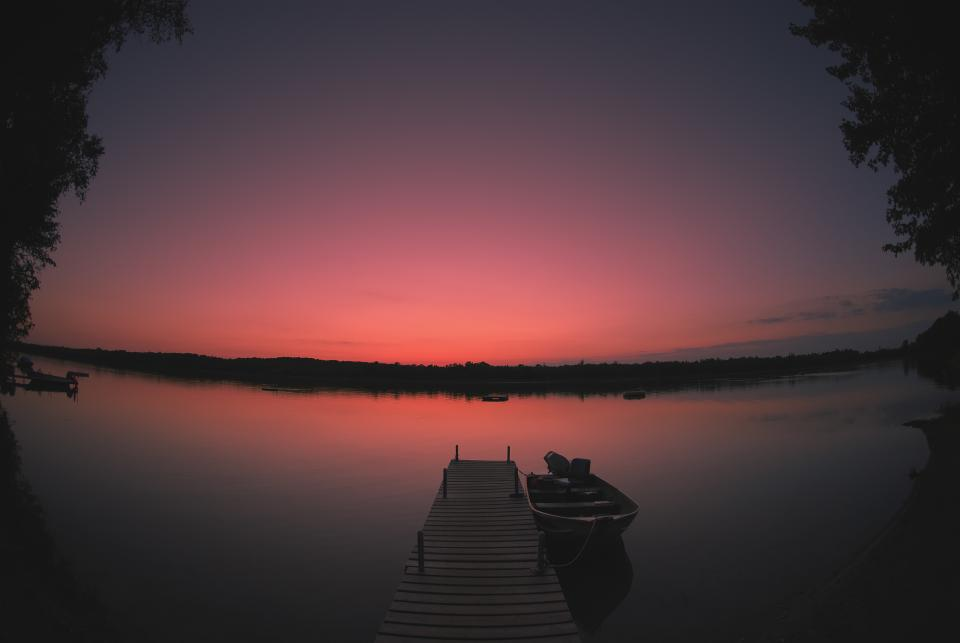 sunset, dusk, lake, water, dock, boat, purple, sky, silhouette, nature, outdoors, landscape