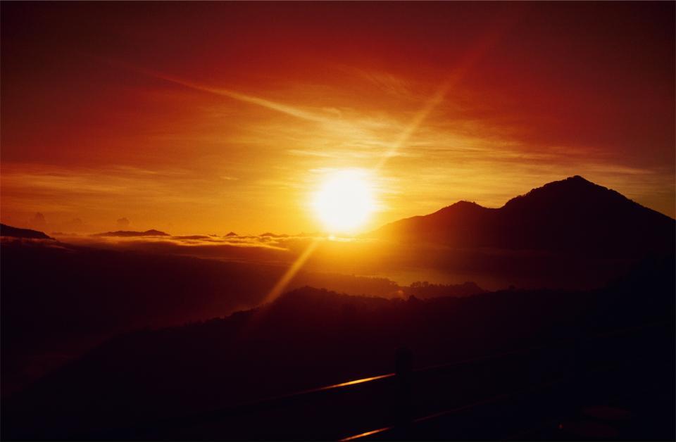 sunset, dusk, sky, mountains, silhouette, landscape