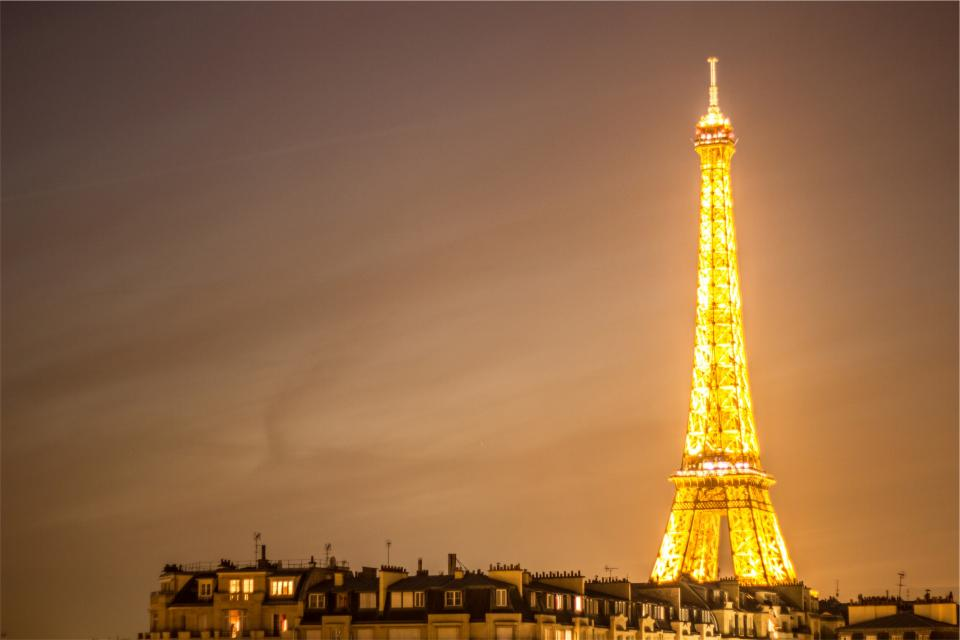 Eiffel Tower, Paris, France, architecture, lights, dark, night, sky