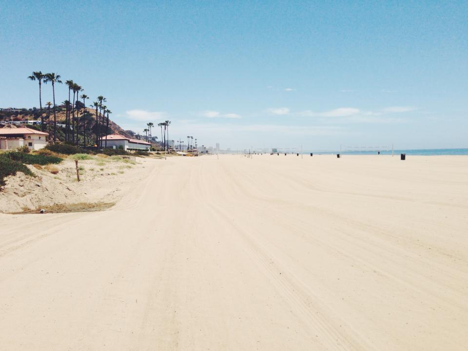 blue, sky, sun, summer, hot, beach, sand, water, palm trees, houses, warm