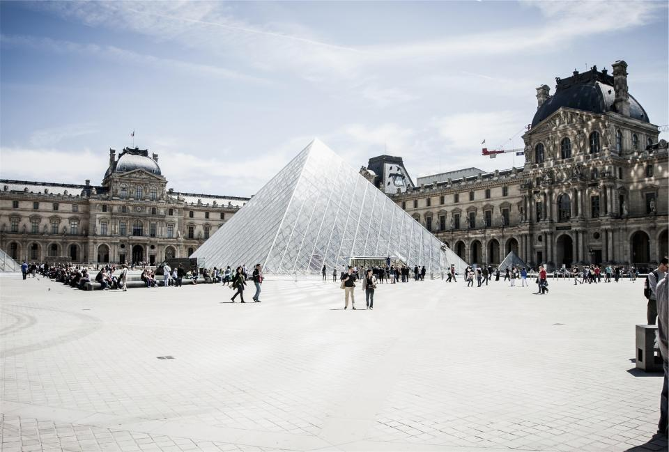 The Louvre, Paris, France, architecture, art, gallery, museum, people, crowd, tourists, buildings