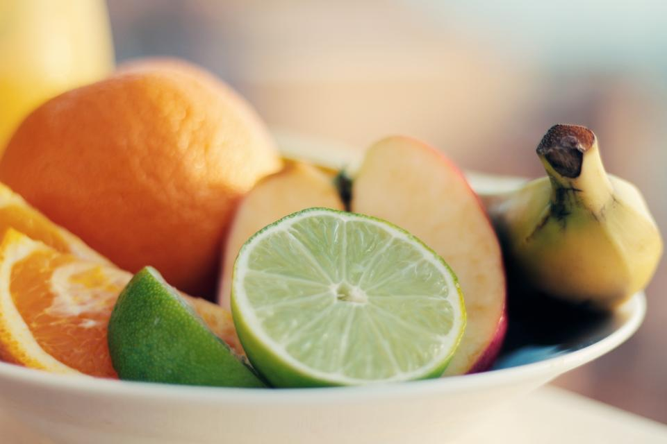 fruits, oranges, limes, apples, bananas, bowl