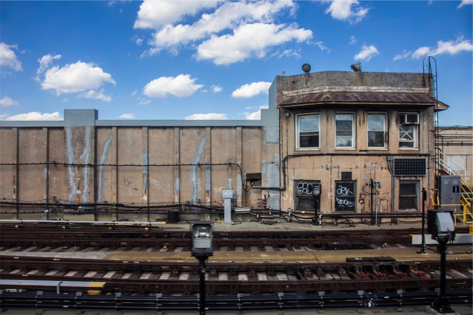 railroad, station, railway, train tracks, transportation, graffiti
