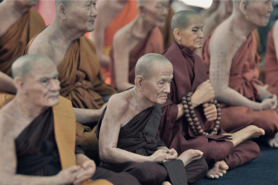 monks, religion, culture, old, elderly, people, praying