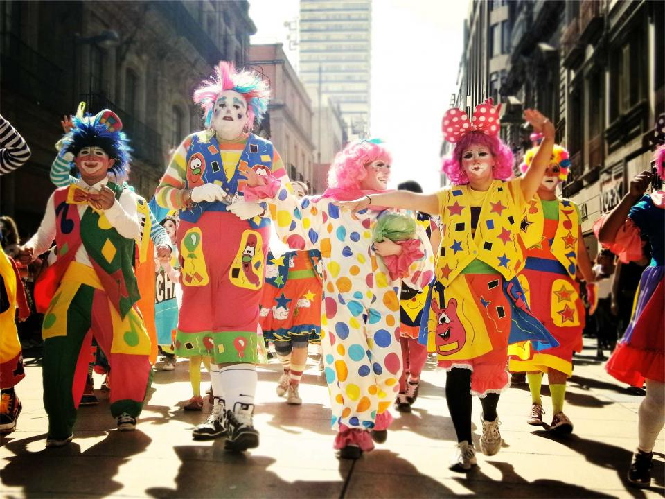 clowns, parade, people