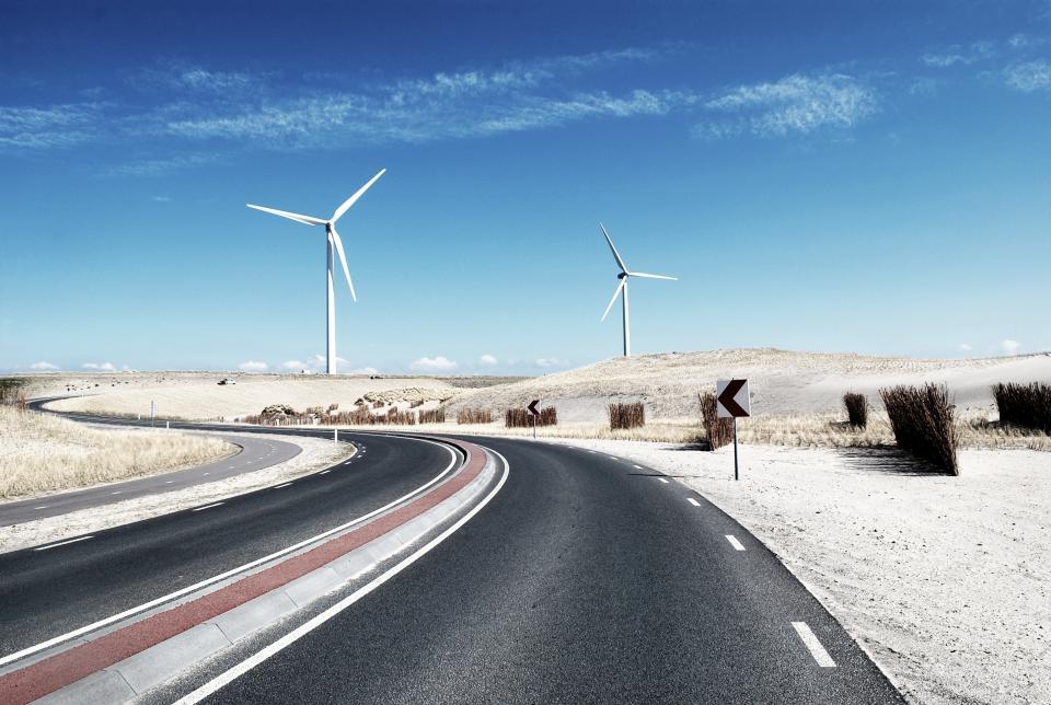 blue, sky, windmill, winding, road, white sand