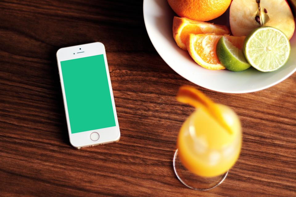 iphone, mockup, cell phone, mobile, apple, technology, orange juice, glass, mimosa, fruits, limes, apples, bowl, table