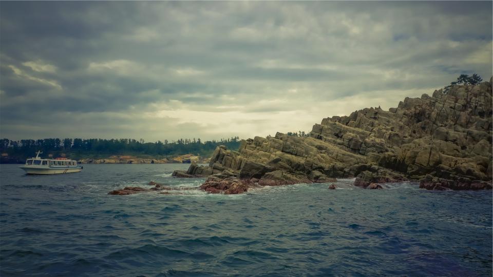 storm, cloudy, coast, rocks, ocean, sea, boat