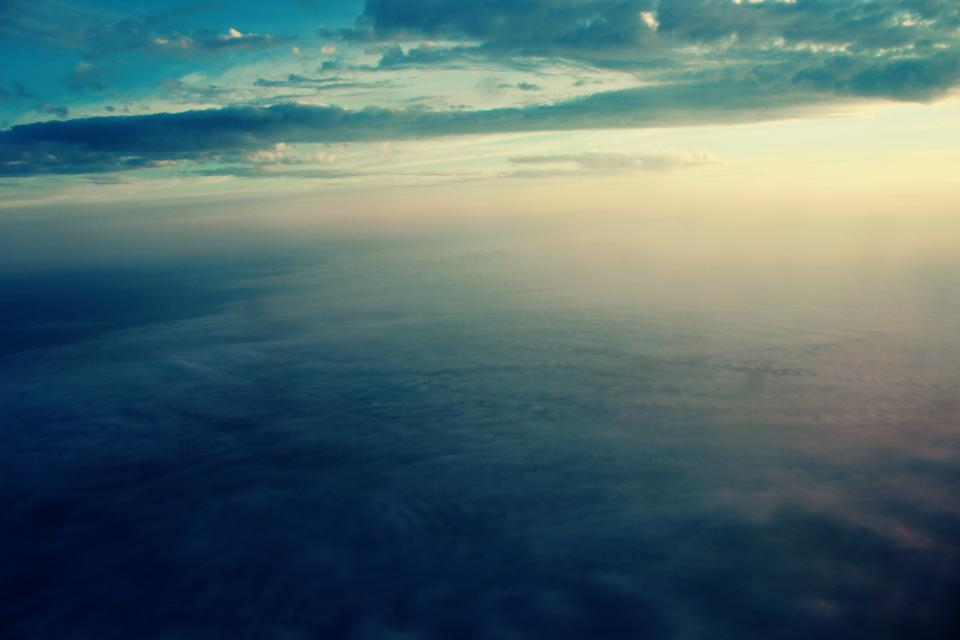 aerial, view, sky, clouds, sunset, travel, trip, transportation, flying, airplane