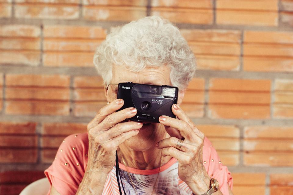 grandmother, old, lady, photographer, kodak, camera, picture, photography, people, woman