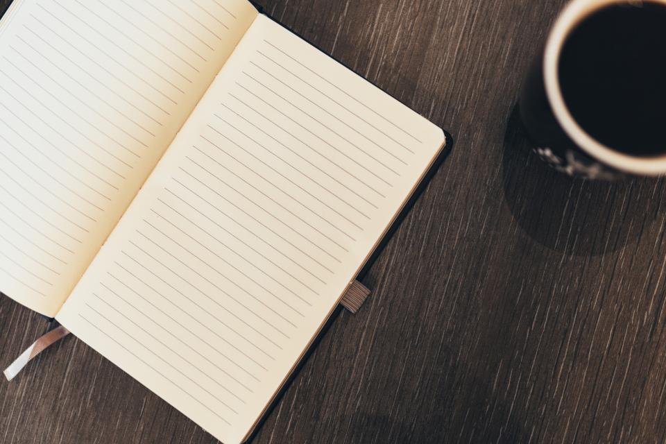 notepad, business, desk, coffee, mug