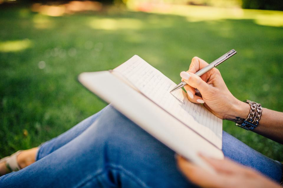 writing, writer, notes, pen, notebook, book, girl, woman, people, hands, grass, outdoors