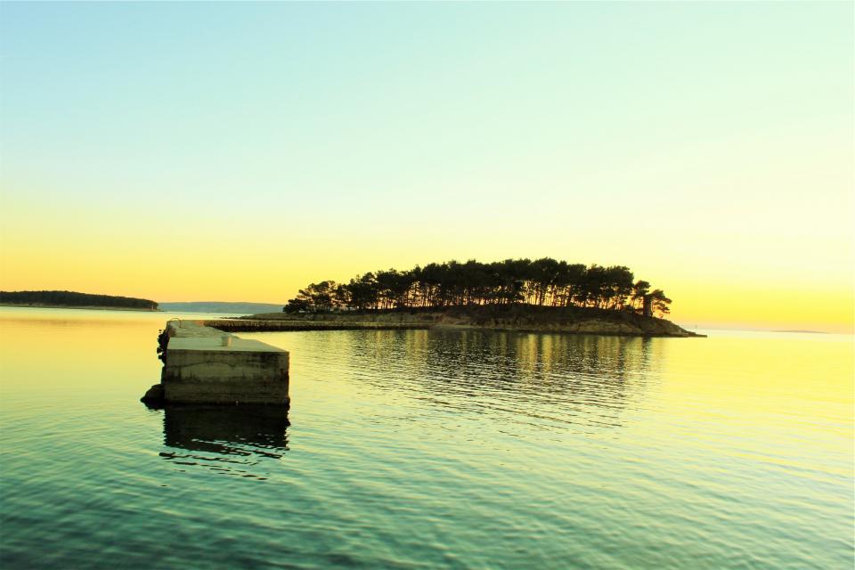 island, sunset, sky, dock, water, lake, trees, sky, yellow, green