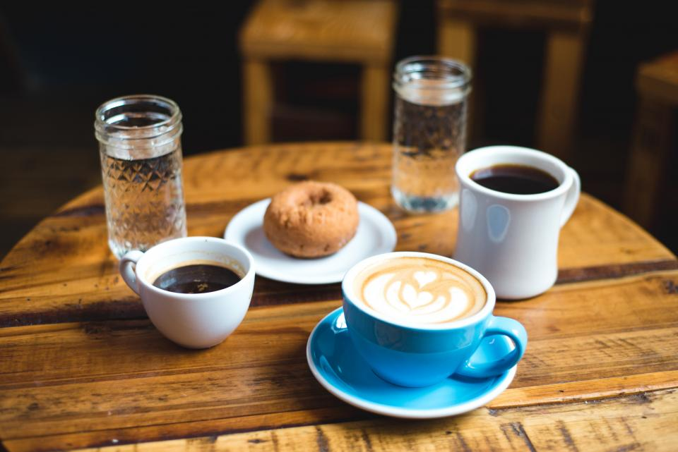 coffee, cappuccino, latte, cup, breakfast, food, cafe, table, glass