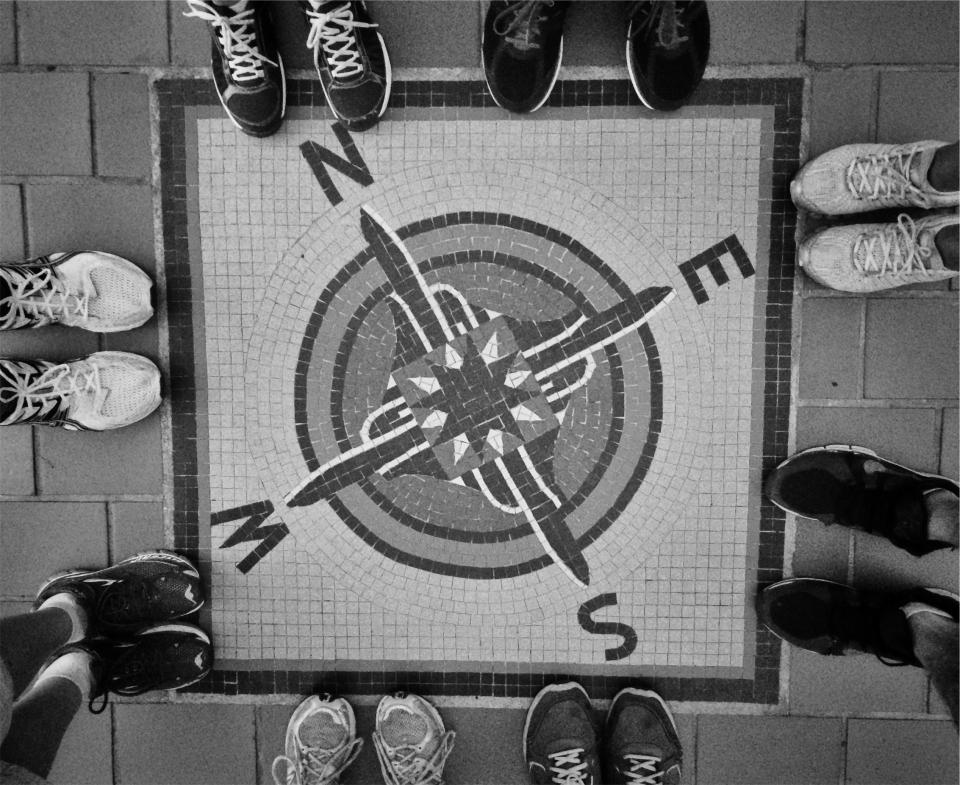 compass, north, west, east, south, navigation, shoes, ground, black and white