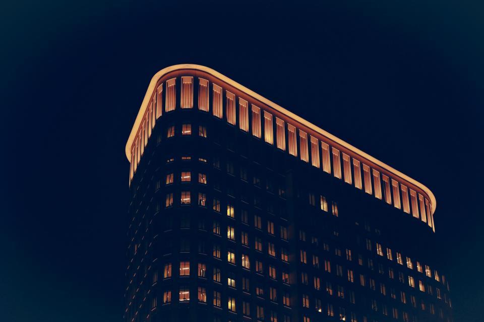 building, lights, night, evening, sky, architecture, windows, city, urban