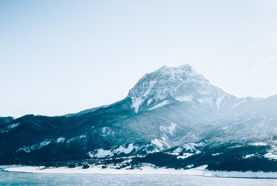 mountains, outdoors, nature, landscape, lake, water, snow, cold, winter, sky, sunshine
