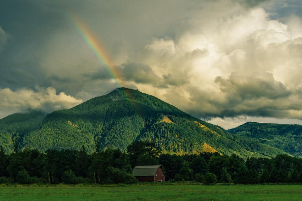 rainbow, mountains, hills, green, grass, fields, trees, nature, landscape, sky, clouds, nature, barn, rural, countryside