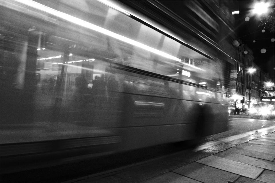 bus, transportation, city, urban, street, sidewalk, black and white, night, evening