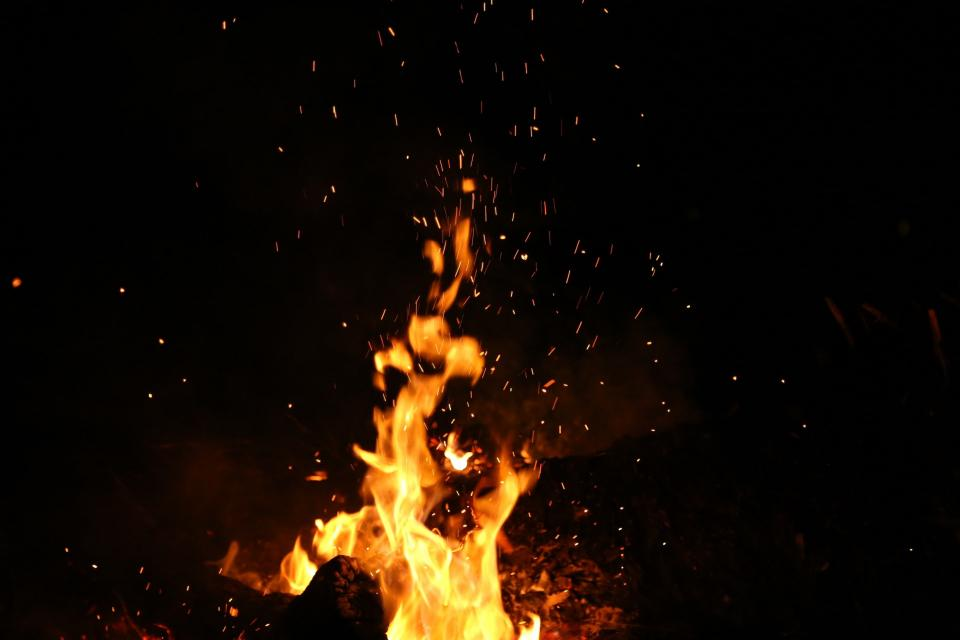 nature, fire, flames, burn, ashes, spark, smoke, night, dark, light, yellow, black