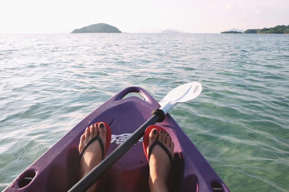 kayak, kayaking, lake, water, paddle, feet, flip flops, outdoors, fitness, adventure, sunshine, summer
