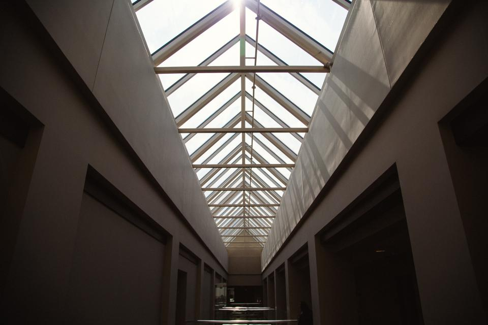 building, hallway, skylight, ceiling, architecture