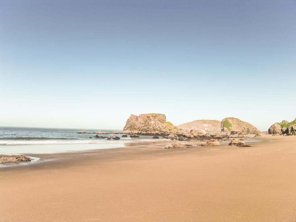 beach, sand, water, waves, rocks, sky, sea, ocean, sunshine