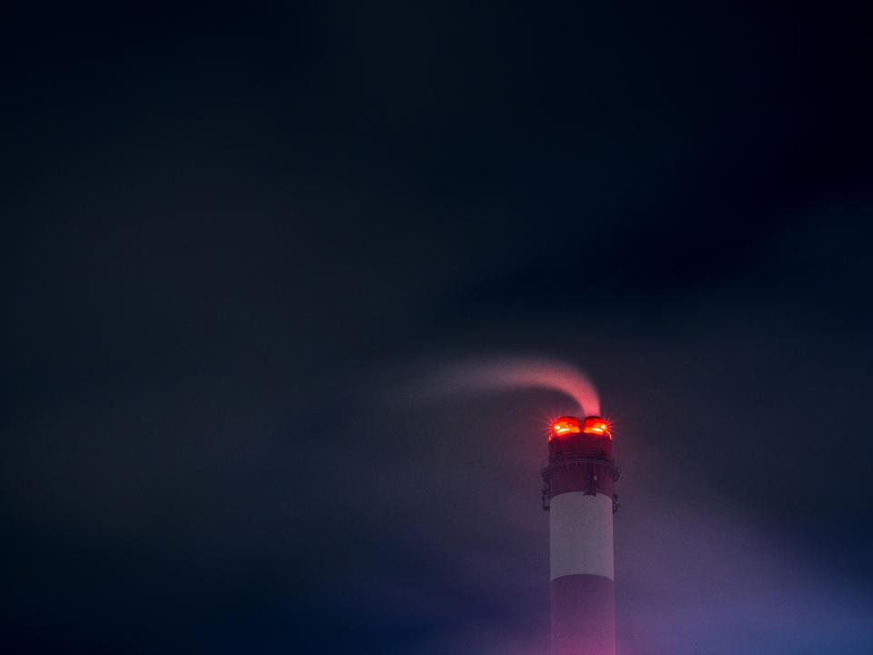 chimney, smoke, power plant, industrial, night, sky, dark, evening