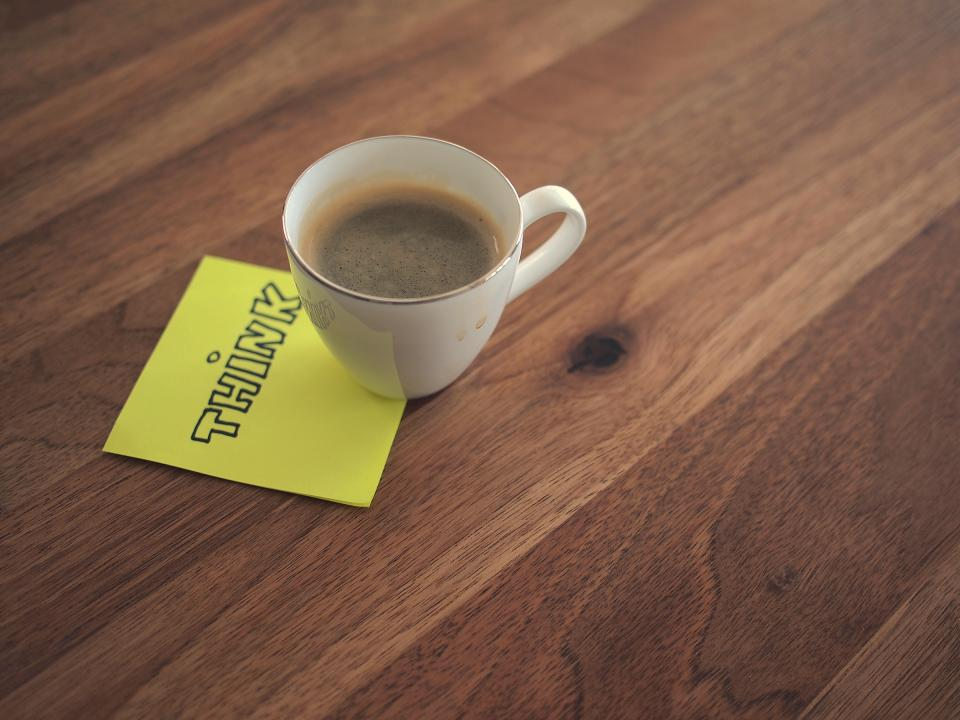 post-it note, coffee, cup, think, wood, desk, office, business