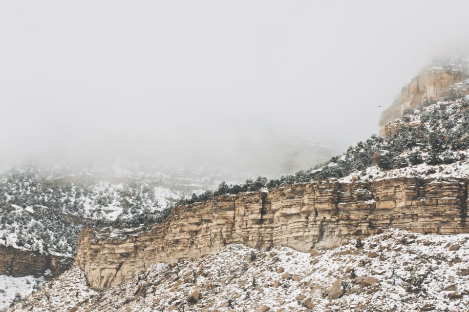 mountains, cliffs, rocks, snow, winter, cold, fog