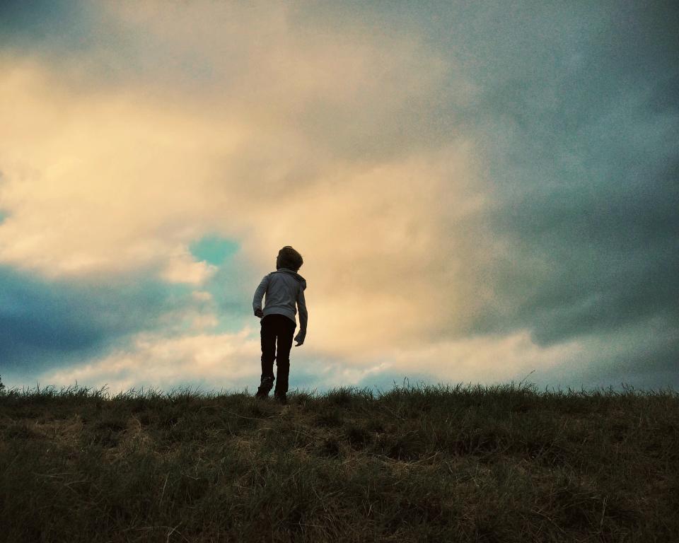 young, boy, kid, field, grass, sky, clouds