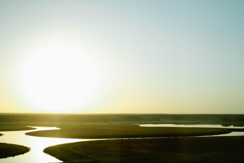 river, water, grass, fields, landscape, sky, sunset