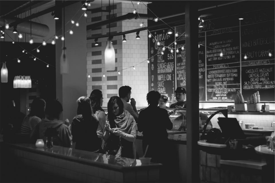 restaurant, menu, chalkboard, ice cream, cones, people, black and white