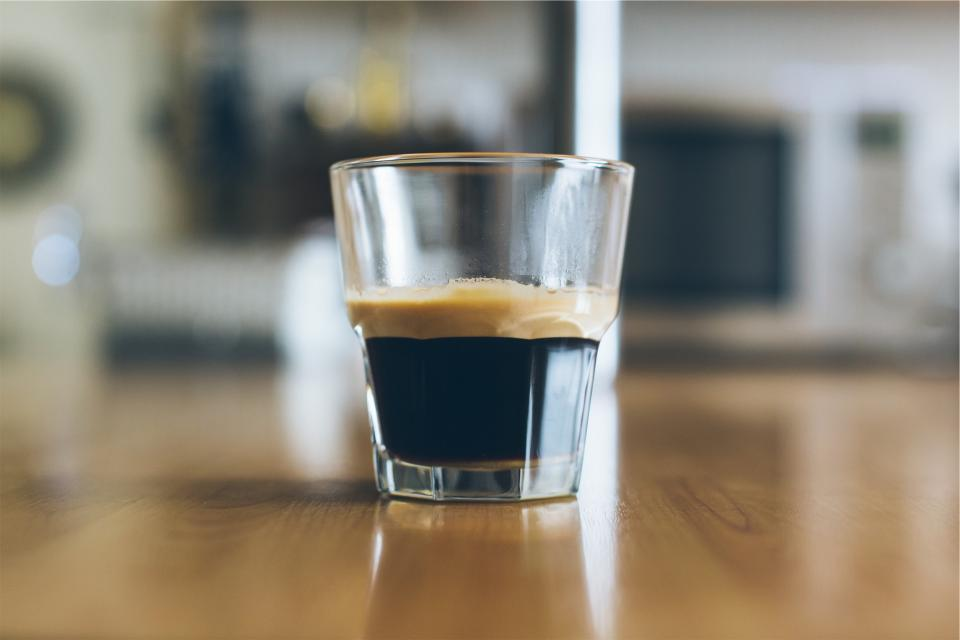 espresso, glass, coffee, table