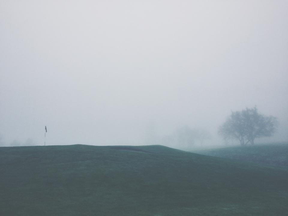 golf course, sports, green, flag, pin, grass, trees, fairway, fog, grey