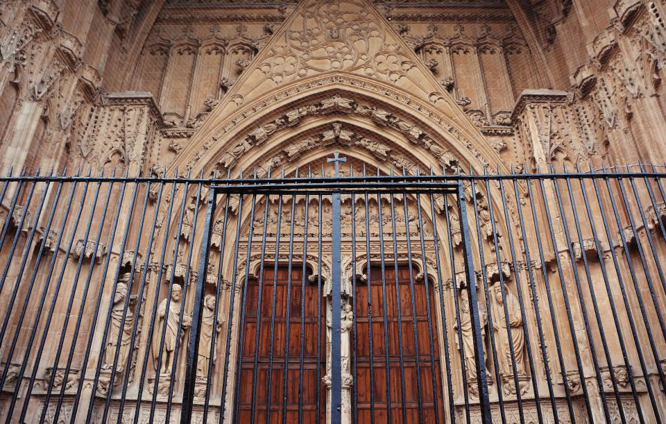 church, religion, cross, architecture, gate, railing, wood, doors, arches