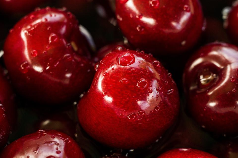 cherries, fruits, food, water, droplets, pile, red