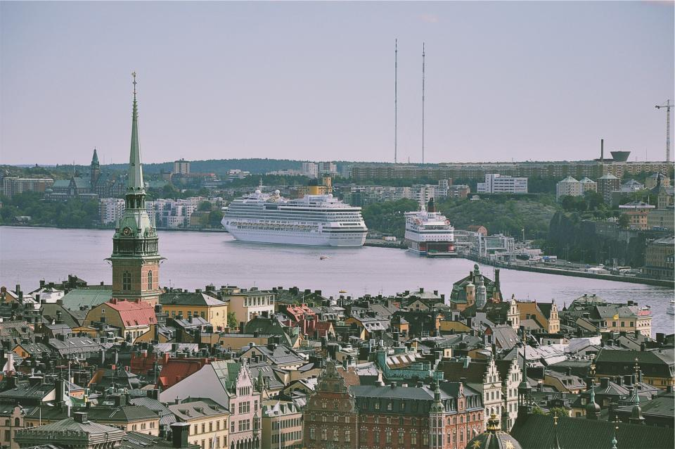 buildings, architecture, city, town, towers, rooftops, aerial, view, water, boats, cruise ships, marina, harbor, harbour