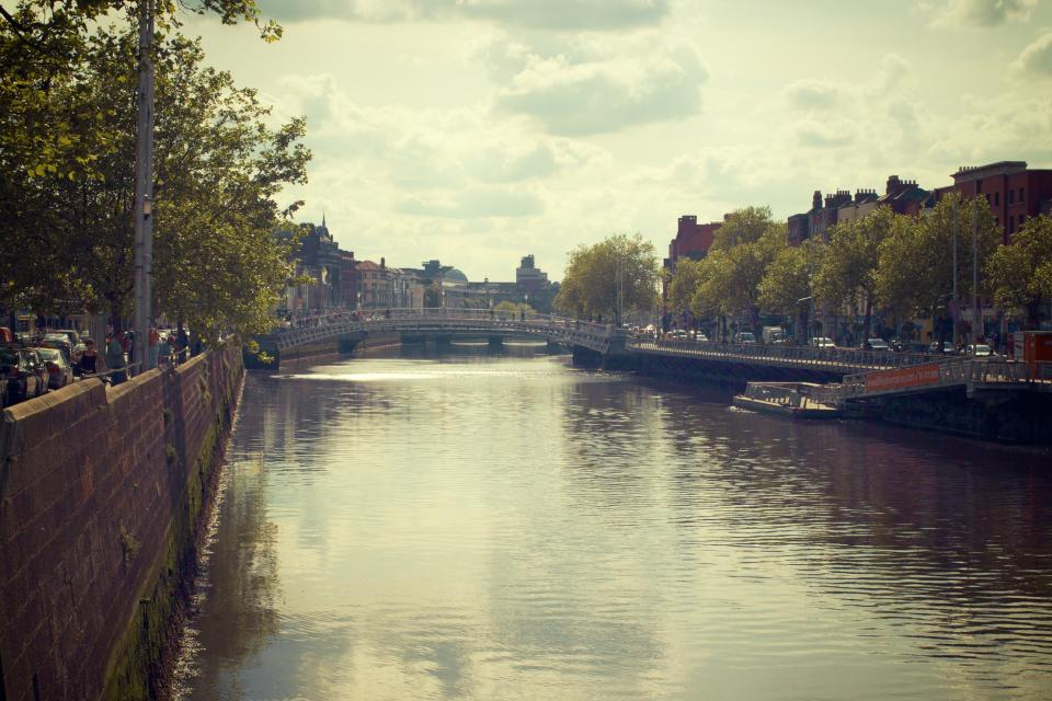 River Liffey, Dublin, Ireland, bridge, water, canal, city, urban, architecture, buildings