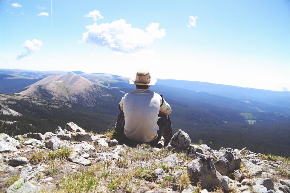 hiking, hiker, mountains, rocks, hills, fields, trekking, nature, landscape, man, guy, hat, people, sky, sunshine