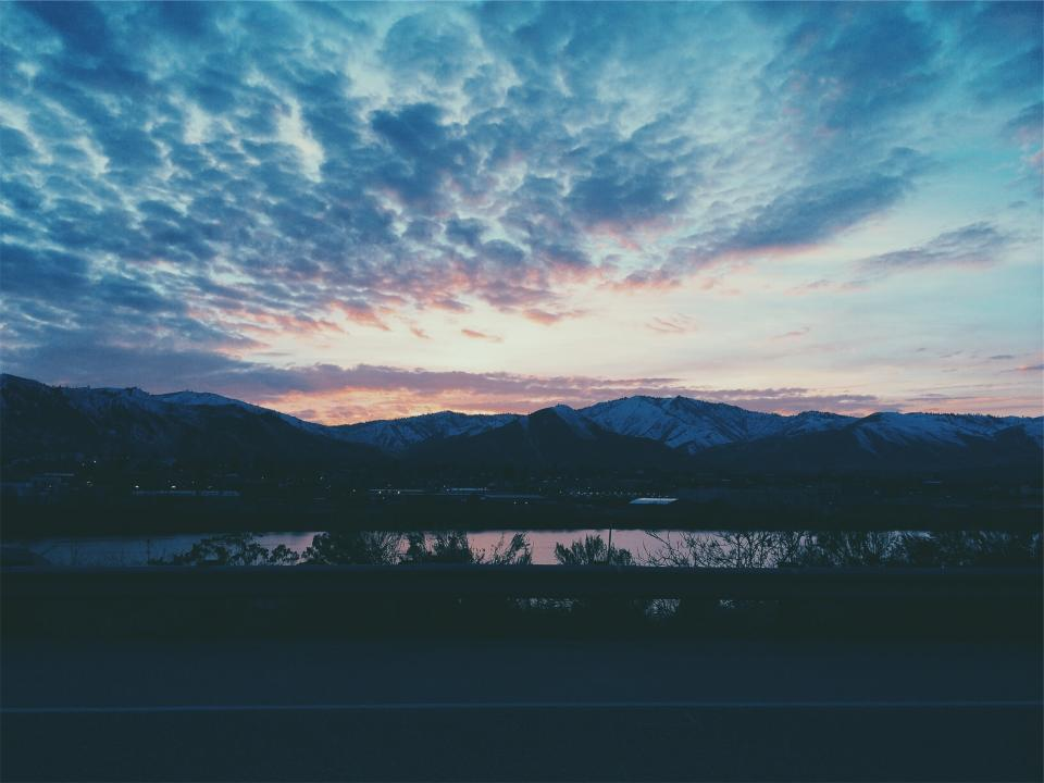 landscape, sunset, dusk, sky, clouds, mountains, lake, water, evening, night