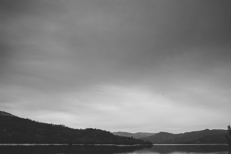 landscape, mountains, hills, lake, water, sky, clouds, black and white, nature