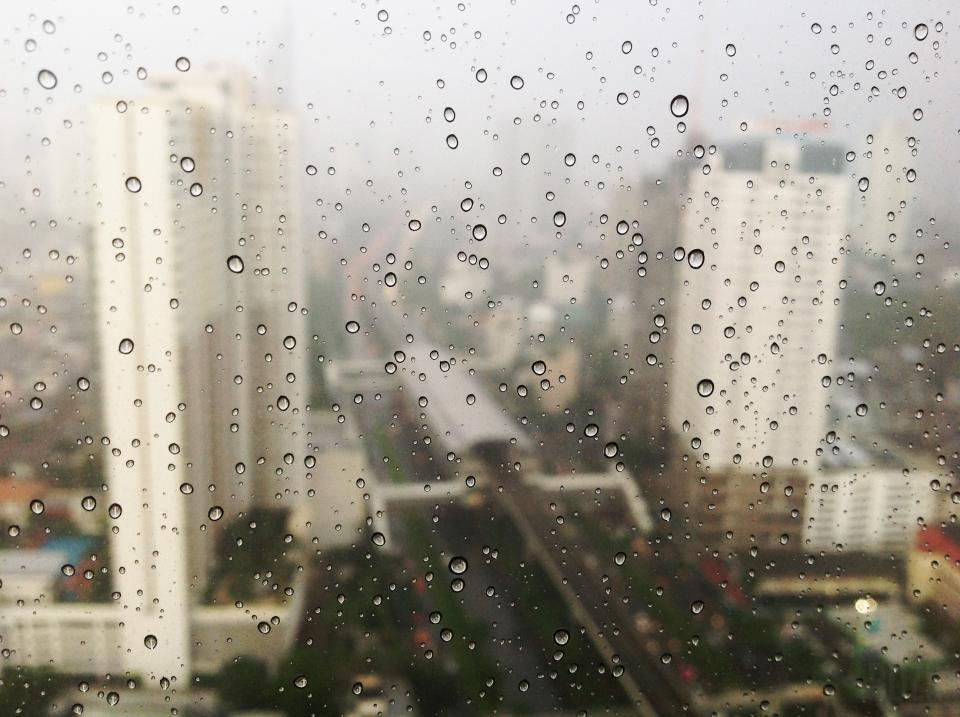raining, rain drops, window